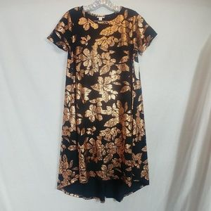 NWT LuLaRoe XSmall Elegant Carly Black Gold Floral